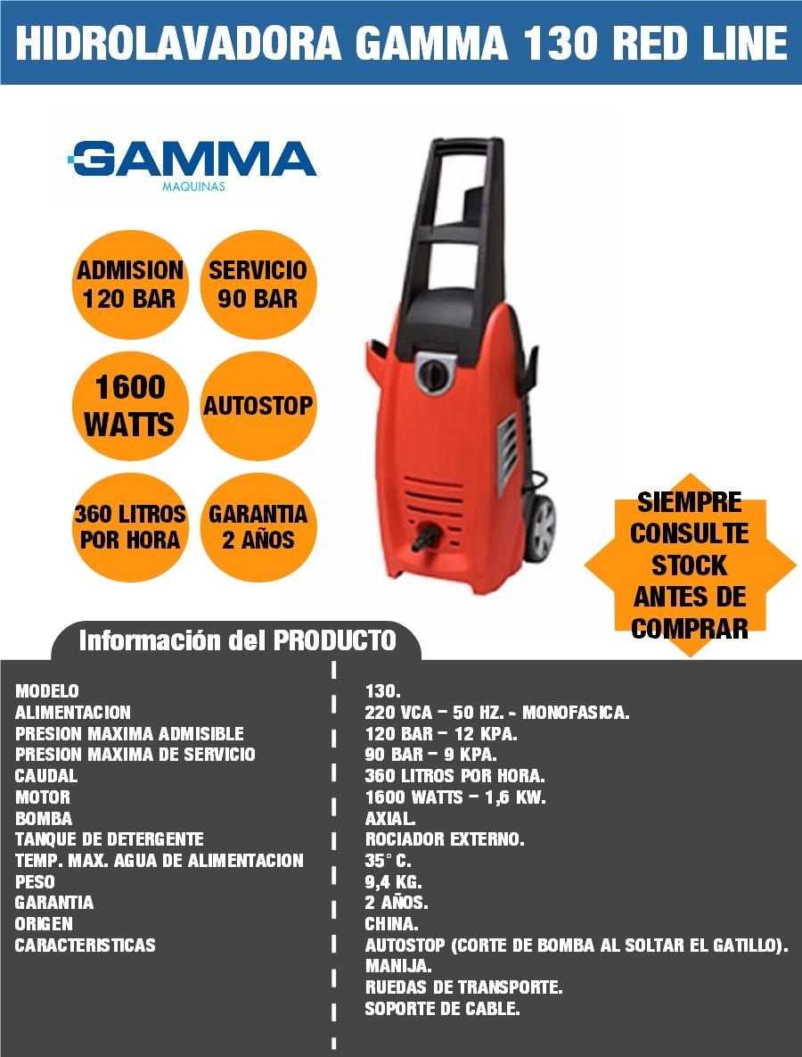 HIDROLAVADORA GAMMA 130 RED LINE 1600 WATTS 120 BAR 90 BAR SELECTOGAR