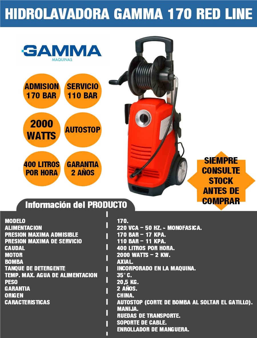 HIDROLAVADORA GAMMA 170 170 BAR 110 BAR 2000 WATTS SELECTOGAR