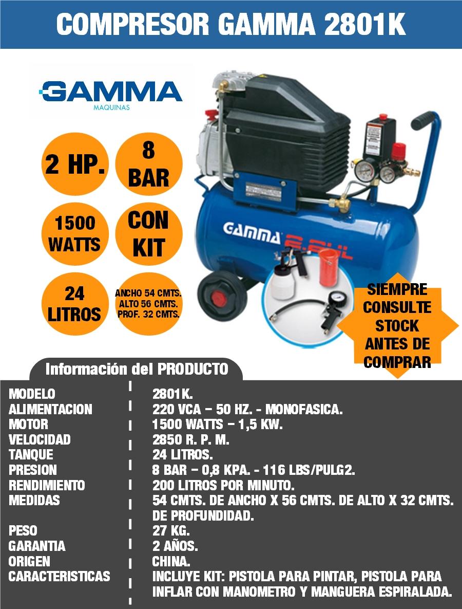 COMPRESOR GAMMA 2801K CON KIT PARA PINTAR INFLAR 24 LITROS 2 HP. SELECTOGAR